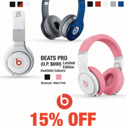 15% OFF Beats Pro or Wireless @ Challenger