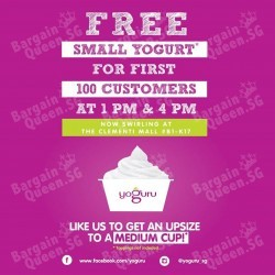 100 FREE Small Cups of Yogurt in any flavour @ Yoguru Clementi Mall