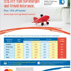 25% off fuel surcharges and travel insurance @ Zuji