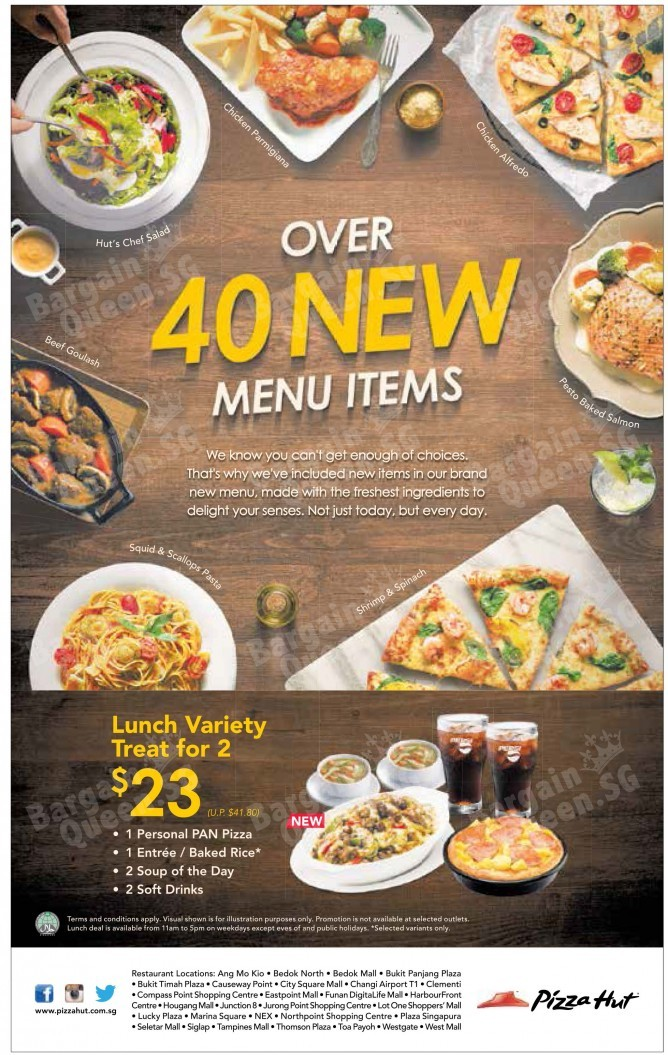 Lunch variety treat for 2 @ Pizza Hut