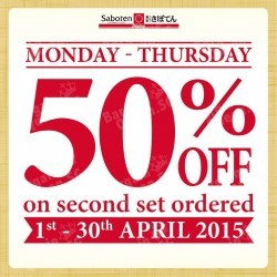 50% off second set order @ Saboten
