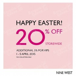20% off Happy Easter Promotion @ Nine West Singapore