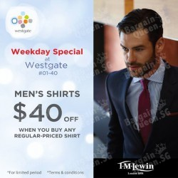 $40 off men's shirts when you purchase any regular-priced shirt @ T.M.Lewin