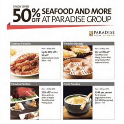 50% Off Seafood and More @ Paradise Group with OCBC Cards
