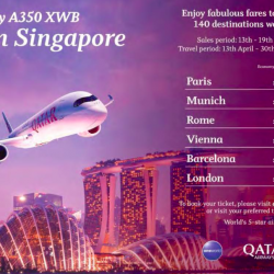 First to fly A350 XWB from Singapore @ Qatar Airways