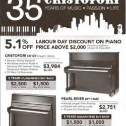 5.1% off labour day discount @ Cristofori