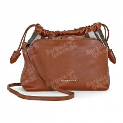 Burberry Little Crush Brown Leather Checked Canvas Shoulder Bag @ JomaDeals