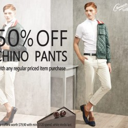 50% off on all Chino pants with any regular priced item purchases @ Crocodile