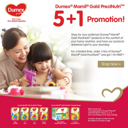 Buy 5 get 1 free and free home delivery @ Dumex