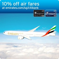 Take 10% off Emirates regular fares and 5% off promotional fares with your Citibank