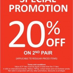 Enjoy 20% Off 2nd Pair of Footwear @ Bata