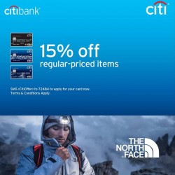 $50 voucher + 15% Off with Citibank @ The North Face