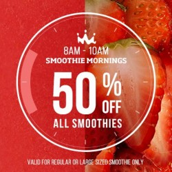 50% off regular and large smoothies on weekdays morning @ Smoothie King