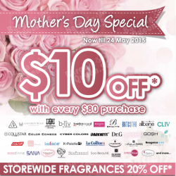 Mother's Day Special: $10 Off With Every $80 Purchase @ SaSa