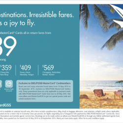 Exclusive DBS/POSB MasterCard all-in return fares from $239 @ SilkAir