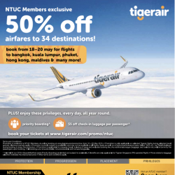 NTUC Members Exclusive: 50% Off airfares to 34 destinations @ Tigerair