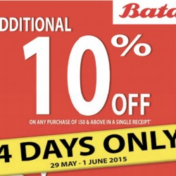 Up to 70% Off + Extra 10% Off @ Bata