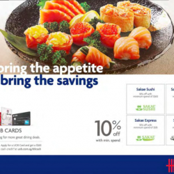 10% off with UOB card @ Sakae Sushi