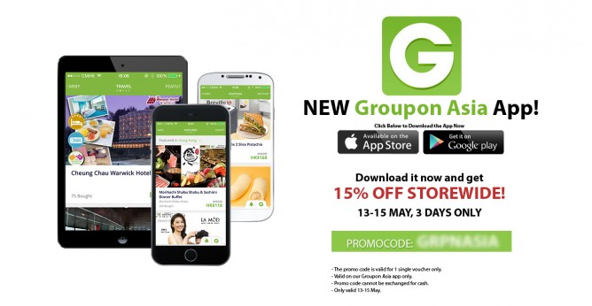 15% off Storewide mobile app coupon @ Groupon 13 - 15 May