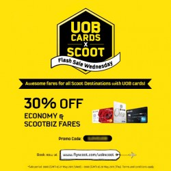 UOB Cards flash sale Wednesday @ Scoot