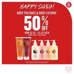 The Body Shop: 50% off body polish & body lotion