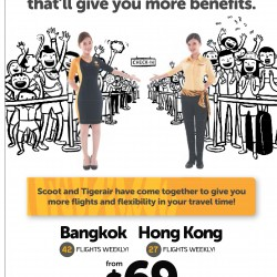 Scoot X TigerAir:  All-in One-way fare from $69