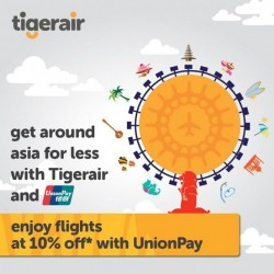 Tiger Air: 10% off return air-tickets for UnionPay card