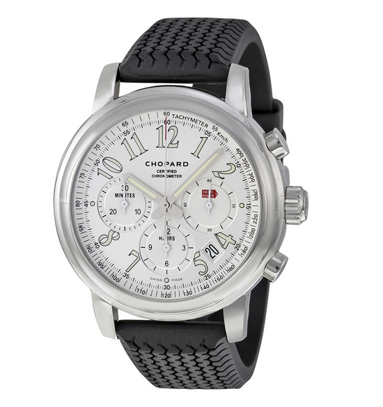 CHOPARD Mille Miglia Automatic Chronograph Silver Dial Black Rubber Men's Watch @ JOMASHOP