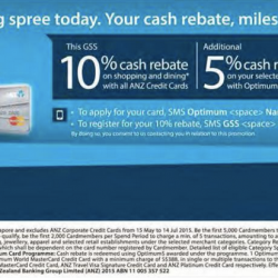 ANZ: 10% + Exrea 5% + S$88 Cash Rebate This GSS
