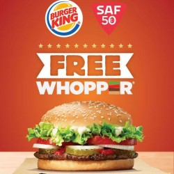 Burger King: Free Whoppers On SAF Day