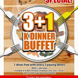 K Box Karaoke: 1 dines free with 3 paying diners for K Dinner Buffet