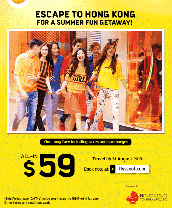 Scoot: $59 all-in one-way fares to Hong Kong