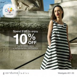 Giordano: Wastgate spend $300 to enjoy 10% off regular items