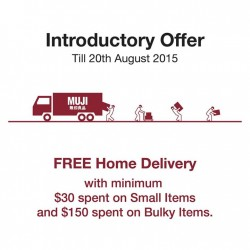 Muji: free delivery online@minimum purchase $30 spent small items & $150