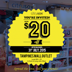 Citrusox: Exclusive Sale from your favorite socks brand up to $20 off @ Tampines Mall