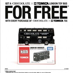 i.t: Free London toy bus with every purchase of a :CHOCOOLATE x TOMICA tee.