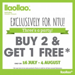 llao llao Buy 2 & Get 1 Free @NTU Outlet