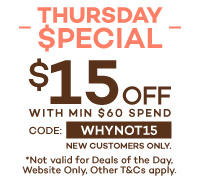 Thursday special $15 off with minimum $60 spend