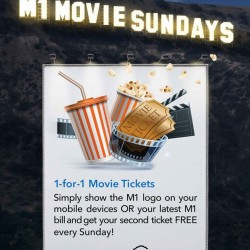 Shaw Theatre: 1-for-1 movie tickets for M1 subscribers