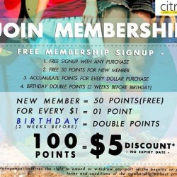 Citrus: Free Membership Signup --- 100 points Equals $5 Discount