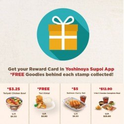 Yoshinoya: FREE goodies behind each stamp collected