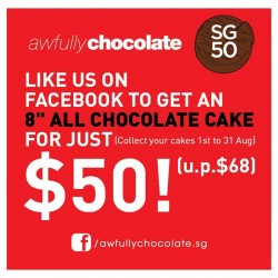 "Awfully Chocolate: Get the 8"" all chocolate cake for $50 (U.P$68)"
