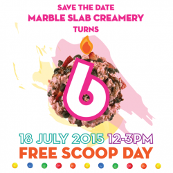Marble Slab Creamery: Free single-scoop ice-cream + 1 Free topping from 12-3pm