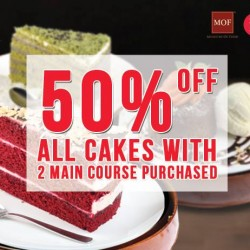 Dolce Tokyo's: All cakes with 2 main course purchased @50%OFF