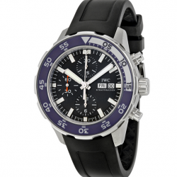 Jomashop: Aquatimer Chronograph Automatic Black Dial Black Rubber Men's Watch