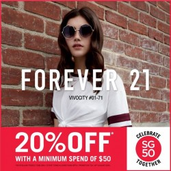 Forever 21: National Day Special --- 20% off with a minimum spend of $50