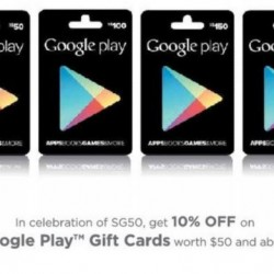 Get 10% OFF on Google Play Gift Cards worth S$50 and above @ Cheers, 7-11 and Challenger
