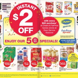 Instant S$2 OFF with every S$20 purchase @ Cheers & FairPrice Express stores at Esso Service Stations