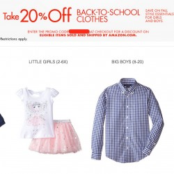 Amazon:  20% OFF coupon code for girls & boys' cloth