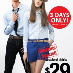 Giordano: Student Special for Oxford Shirts at $29 only (U.P $49)